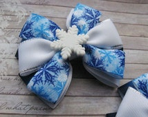Hair ribbon bow Christmas hair clip bow Snow hair bows White snowflake Christmas accessories Holiday decor Kids outfit Xmas gifts Frozen