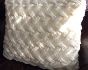 SALE...Hand Knitted Cosy,Cable Cushion