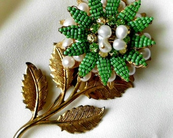 Signed Miriam Haskell Large Flower with Green Petals Pin Brooch