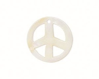 Peace Sign, Mother of Pearl, MOP Peace Sign, White to Ivory, 20mm, 2 each, D896
