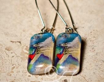 Christmas star • original art earrings