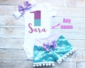 Mermaid Birthday Outfit, Personalized, Ariel, Glitter, 1st Birthday Outfit, Under the sea, Merbabe, toddler, Sparkle, 2nd Birthday