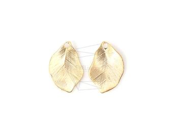 PDT-702-MG/4PCS/Matte Gold Plated Textured Leaf Pendant/12mm x 18mm