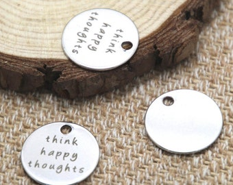 10pcs think happy thought charm silver tone message charm pendant 20mm D2050