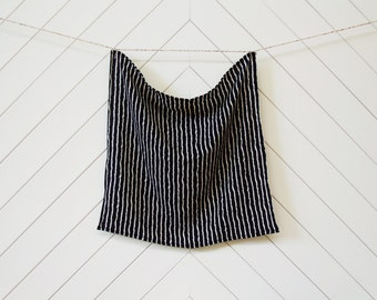 Black with Abstract White Stripes