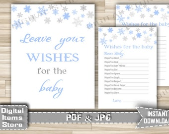 Winter Wishes For Baby Cards and Sign - Printable Baby Shower Wishes For The Baby Snowflakes Blue for Boy - Instant Download - sb2