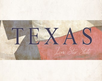 Panoramic Texas Lone Star State Flag Print Photo Wall Art Decor