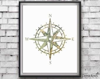 Compass Map Print, Vintage Map Print, Travel Artwork, Compass Artwork, Wanderlust Prints, Travel Decor, Instant Download, Nautical Decor