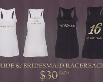 Bride and Bridesmaid Tri-Blend Racerback Tanks