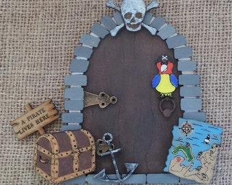 Decorated pirate fairy door