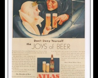 """George Petty Vintage Pinup Illustration Pinup Atlas Special Brew Beer Ad Wall Art Deco Book Print 9"""" x 11 3/4"""""""