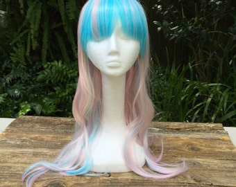 Pastel Beauty Blue/Pink/Yellow Ombre Curly Synthetic Cosplay, Costume Wig, Great for Carnival and Mardi Gras
