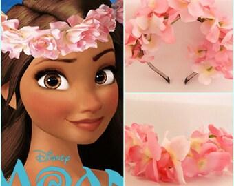 New Disney Princess Moana  - Moana Floral Headband, Floral Crown, Floral Tiara, Flower Headband, Flower Crown, flower Tiara- pink Flower