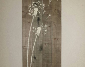 Rustic pallet sign with Dandelions