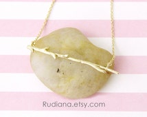 Gold Twig Pendent Necklace, Twig Necklace , Bridal Shower Gift,Birthday Gift, Holiday Gift, Branch Necklace