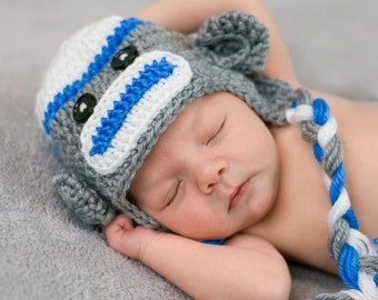 Crochet Sock Monkey Hat, newborn photo prop, baby boy- girl sock monkey hat , newborn earflap hat--Sock Monkey hat for Newborn Photography