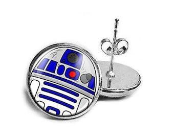 R2D2 Star, Wars Stud Earrings- CUTE! Empire, Strikes Back