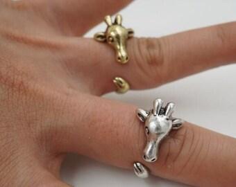Giraffe Safari Animal Wrap Adjustable Ring- Silver or Gold