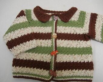 Crochet Baby Sweater, Baby Cotton Sweater, Crochet Cotton Sweater, Baby Boy Sweater, Green, Ivory, Brown Baby Sweater, Wildlife Sweater