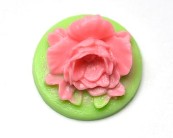 Green Flower Cameo , Pack of 4