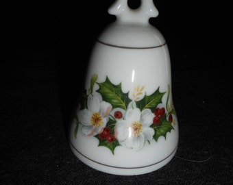 Vintage 1965 Elg porcelain bell with holly and Christmas flowers