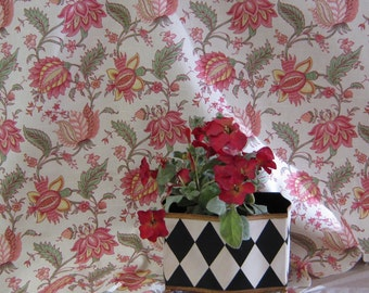 Mill Creek Fabrics, Designed by Raymond Waites Coral on Cream Floral Print