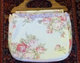 Handmade Handbag with wooden handles
