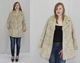Vintage 60s La France Blonde PERSIAN Lamb MINK Faux FUR Retro Dress Car Coat S M