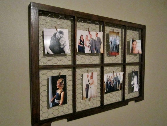 Picture frame photo display old window organizer old for Picture frame organization wall