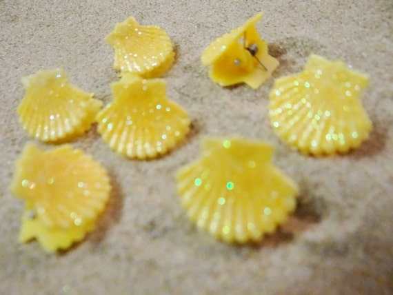 7 pc Yellow Glitter Shell Seashell Clam Clamshell Hairclip Hair Clip Accessory Claw Mermaid Ariel Accessories Butterfly Clips