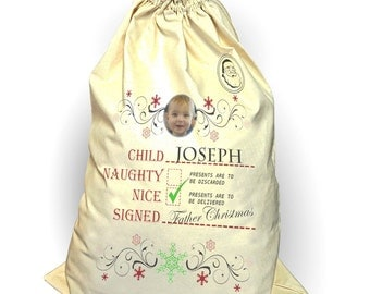 Christmas Sack stocking Personalise your own drawstring stocking with photo and names