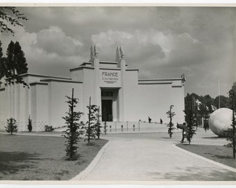 Pavillion of Overseas territories of France world exhibition 1935 Brussels- original 30s vintage photo- architecture- Belgium- World's Fair