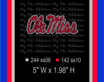 Instant Download Rhinestone SVG EPS Design File Ole Miss Hat or Left Chest Logo