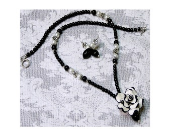 Necklace and earrings set, black and white flower and pearls, clip on or pierced