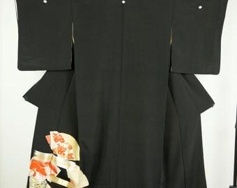 Vintage Silk Kuro Tomesode Kimono - Golden Fan Print