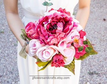 Silk flower wedding bouquet, Silk bouquet, bridesmaid bouquet,  decoration, Summer, Spring, bridal bouquet