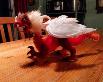 Deluxe Japanese Elemental Fire-Dragon Plush Art doll, *Sebastian*