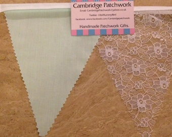 Handmade High Quality White English Lace & Mint Green Wedding Bunting - various lengths available