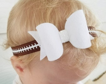 Football headband, baby girl football, football hair bow, football headband for baby, newborn photo prop, baby girl, toddler hair accesory