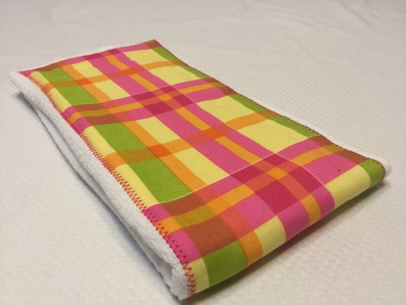 Burp Cloth- Pink/Yellow Plaid- FREE Embroidery