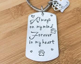 Pet Memorial Keychain - Dog Memorial- Paw Print Keychain - Personalized Pet Memorial - In Memory of Pet - Memorial Keychain Gift - Pet Loss