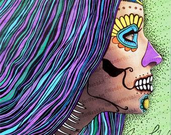 "12x12 ""Ojos españoles (Spanish Eyes)"" Sugar Skull Day of the Dead Dia De Los Muertos Art Print"