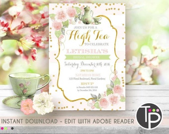 HIGH TEA Invitation, Instant Download, AFTERNOON Tea Invitation, High Tea Bridal Shower, High Tea Baby Shower, Edit text with Adobe Reader