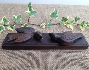 Vintage French Carved Wood Birds, Carving, Bird Carving, Oak Carving, French Vintage