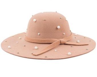 Faux Pearl Embellished Floppy Hat