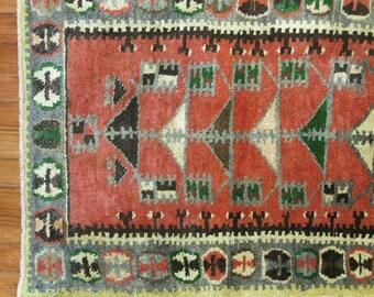 Vintage Turkish Oushak Rug Size 2'3''x5'1''