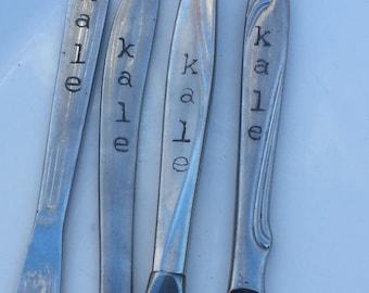 "Garden Marker ""Kale"", Plant Marker, Repurposed Silverware"