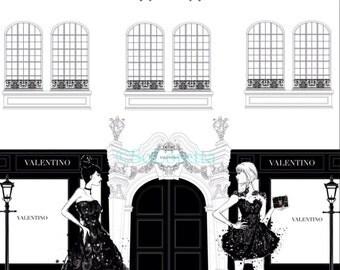 Valentino store front print