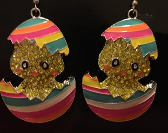 ON SALE Easter hatching chick egg earrings