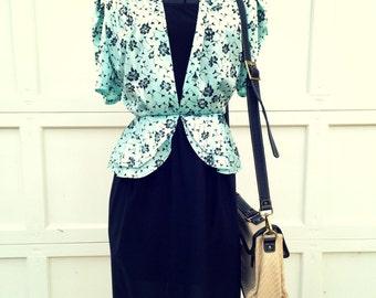 Bintage 1980s Midi Blue Black Floral Dress Suit Medium Large